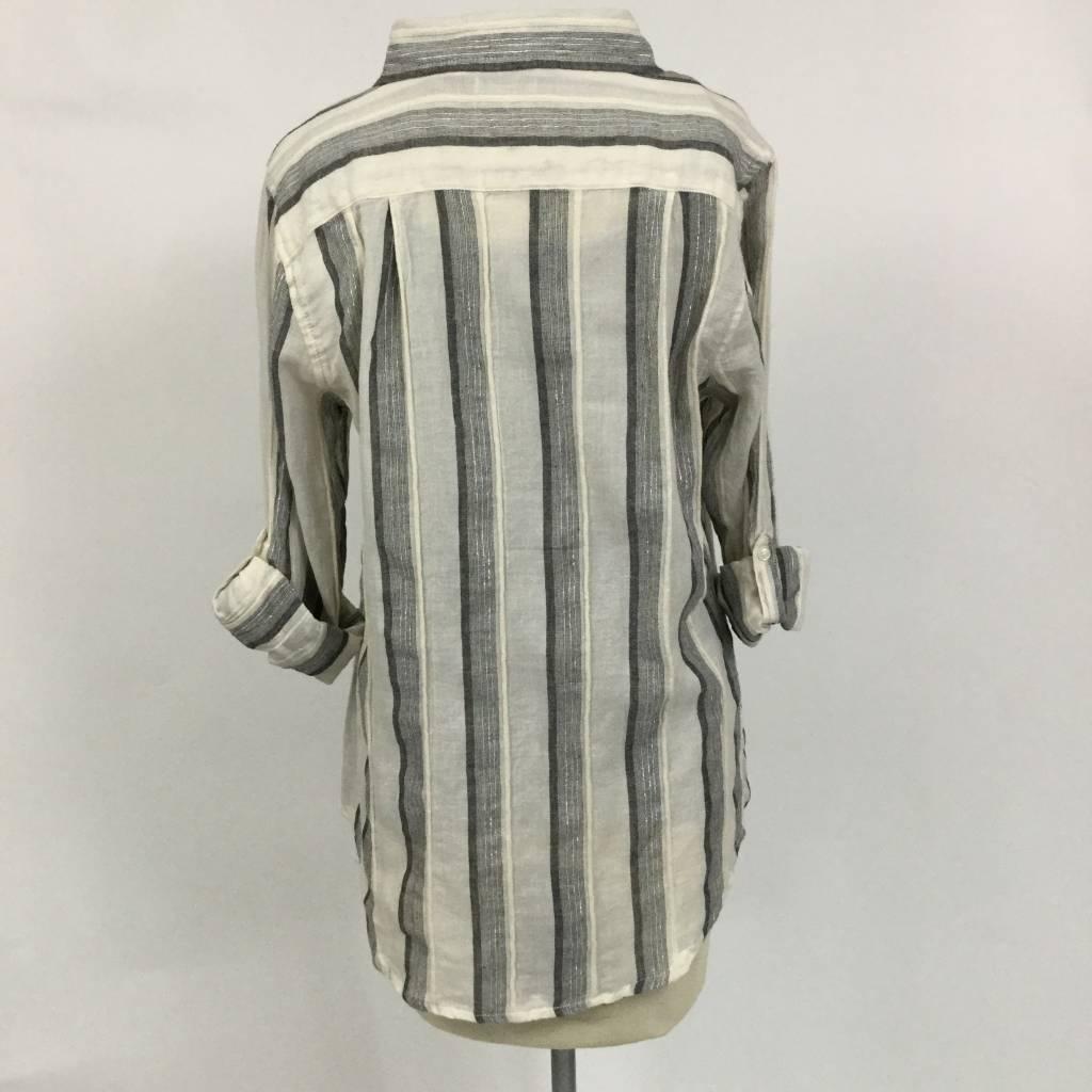 Dylan Havana Stripe Shirt Natural Black Silver