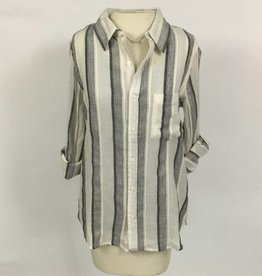Dylan Havana Stripe Shirt Natural Black Silver