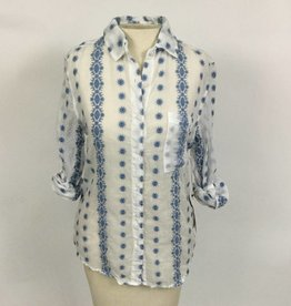 Dylan White Blue Vintage Embroidered Pocket Shirt