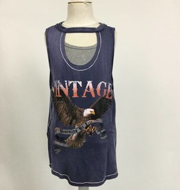Vintage Havana Vintage Eagle Cut Out Tank Blue