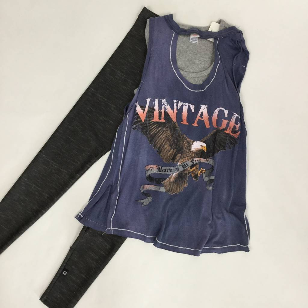 Vintage Havana Vintage Eagle Cut Out Tank Blue