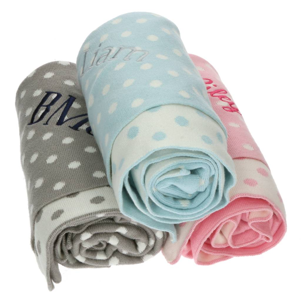 Heartstrings Dotted Baby Blanket Personalized