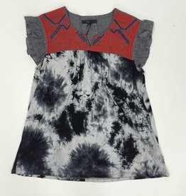 THML Black Flutter Sleeve Tie Dye Top w Red Embroidery