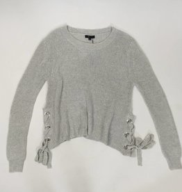 Grey Side Lace Oversized Sweater