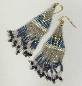 Nakamol WEXB18 Dark Blue Beaded Fringe Earrings