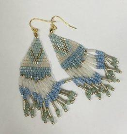 Nakamol WEXB18 Light Blue Beaded Fringe Earrings
