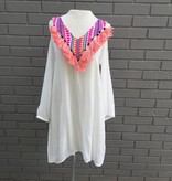 America & Beyond White Cold Shoulder Dress w Embroidery and Tassels