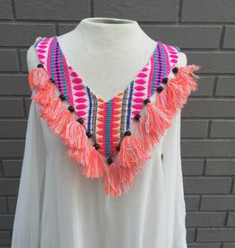 White Cold Shoulder Dress w Embroidery and Tassels