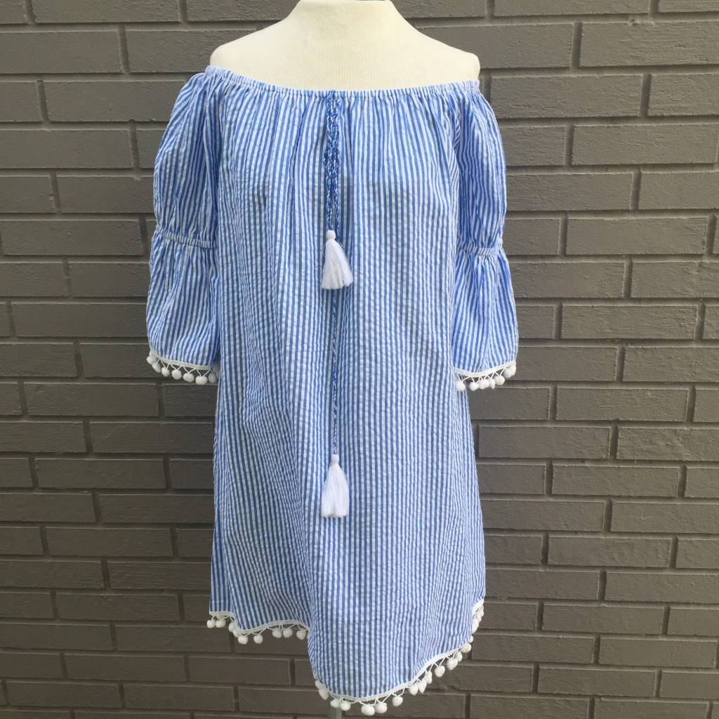 Blue White Searsucker Off Shoulder Coverup Top