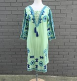 Green Embroidered Long Tunic Style Dress
