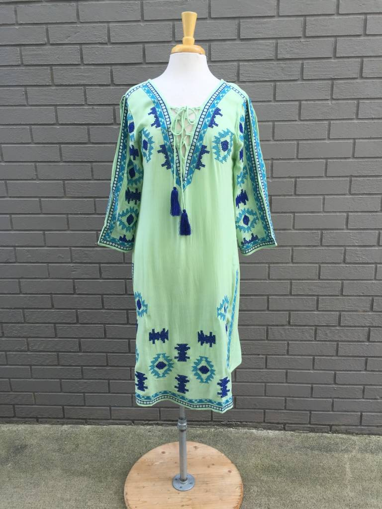 America & Beyond Green Embroidered Long Tunic Style Dress