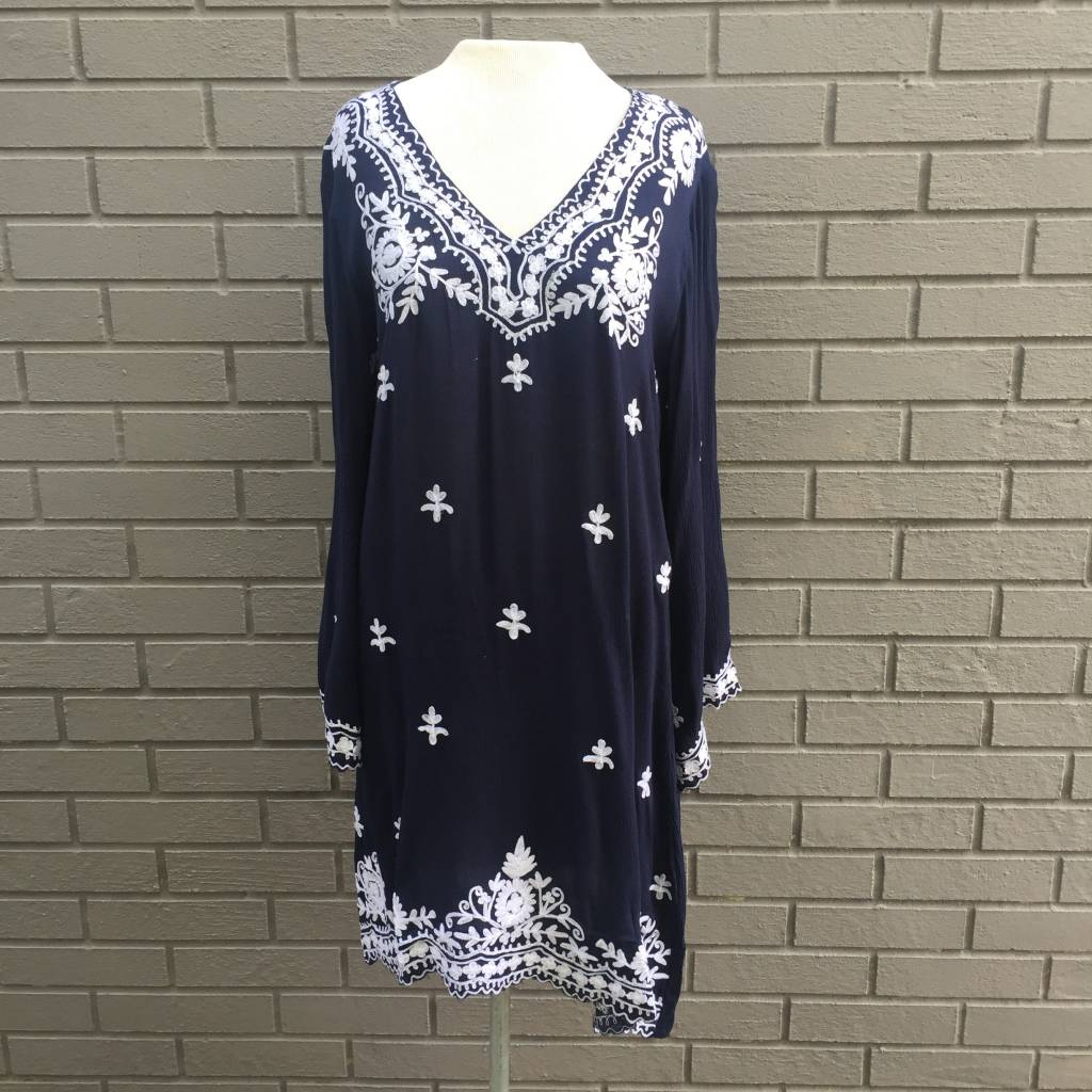 America & Beyond Navy White Embroidered Long Sleeve Tunic