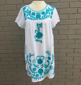 White Beach Dress w Turquoise Embroidery