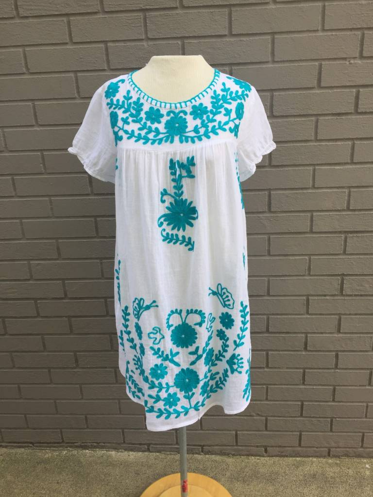 America & Beyond White Beach Dress w Turquoise Embroidery