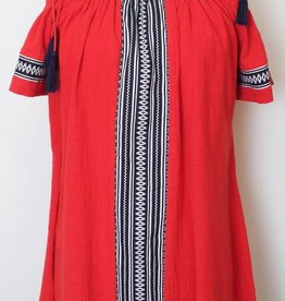 THML Off Shoulder Red Dress with Contrast Panels