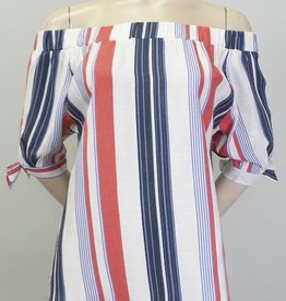 THML Vertical Stripe Off Shoulder Top Red Blue
