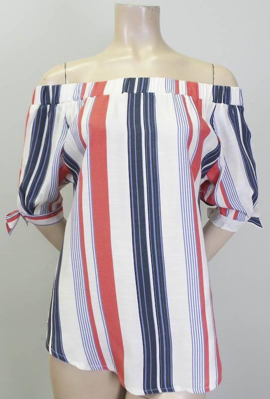 THML Vertical Stripe Off Shoulder Top Red Blue
