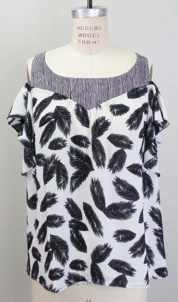 THML Black White Feather Print Ruffle Cold Shoulder