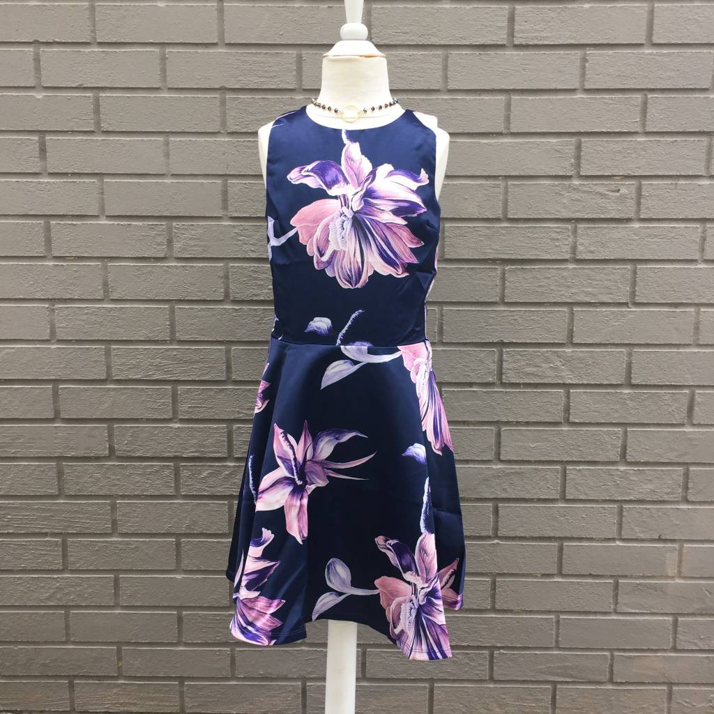 Miss Behave Betty Navy Floral Fit and Flare Girls Dress