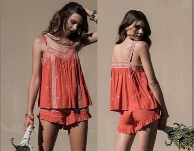 Moon River Coral Red Embroidered Sleeveless Top