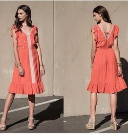 Moon River Coral Red Embroidered Woven Dress