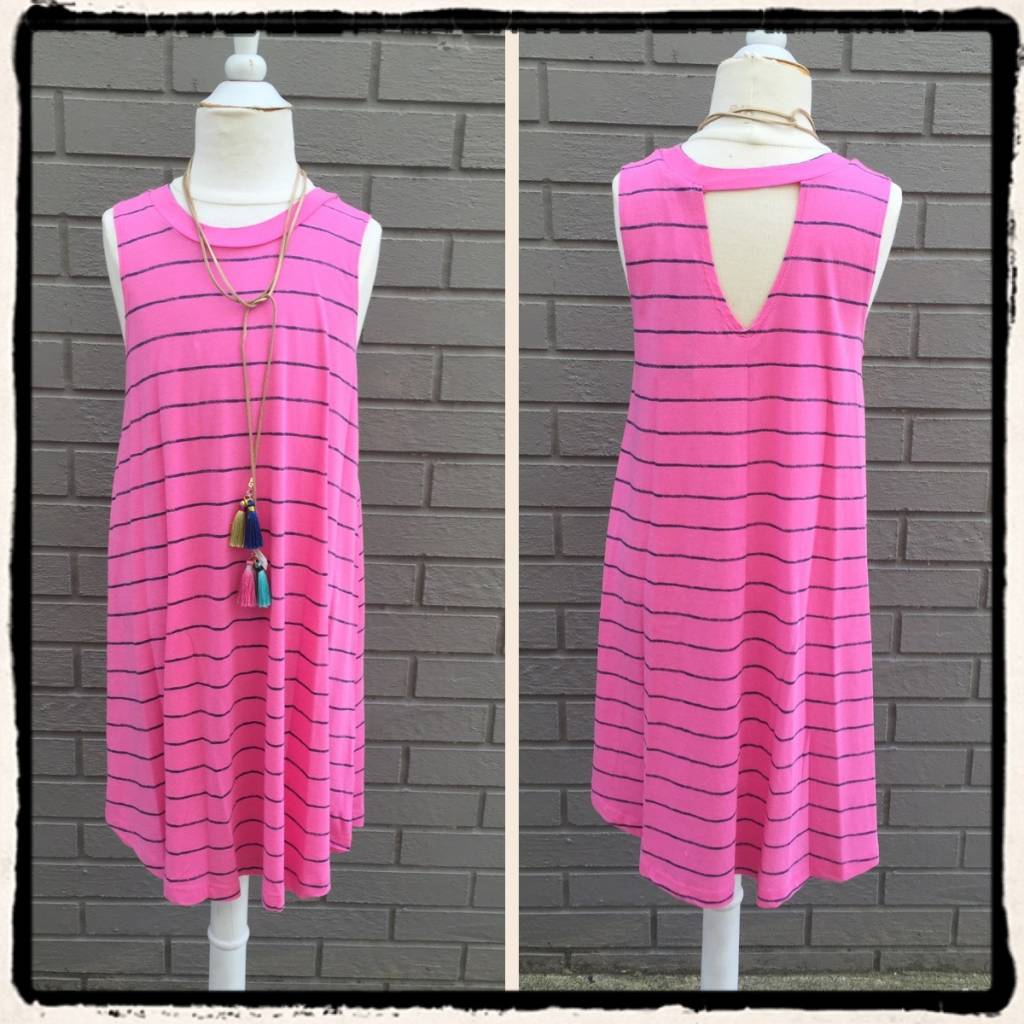 Splendid Printed Stripe Modal Dress Pink