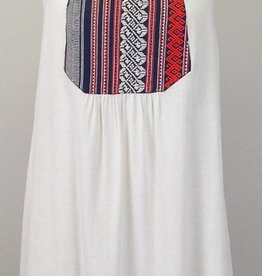 THML Embroidered Bib Dress Natural