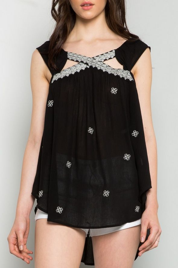 THML Criss Cross Tank Top Black w Embroidery