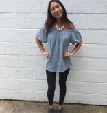 Dylan Denim Blue Gauzy Cotton Off Shoulder Top