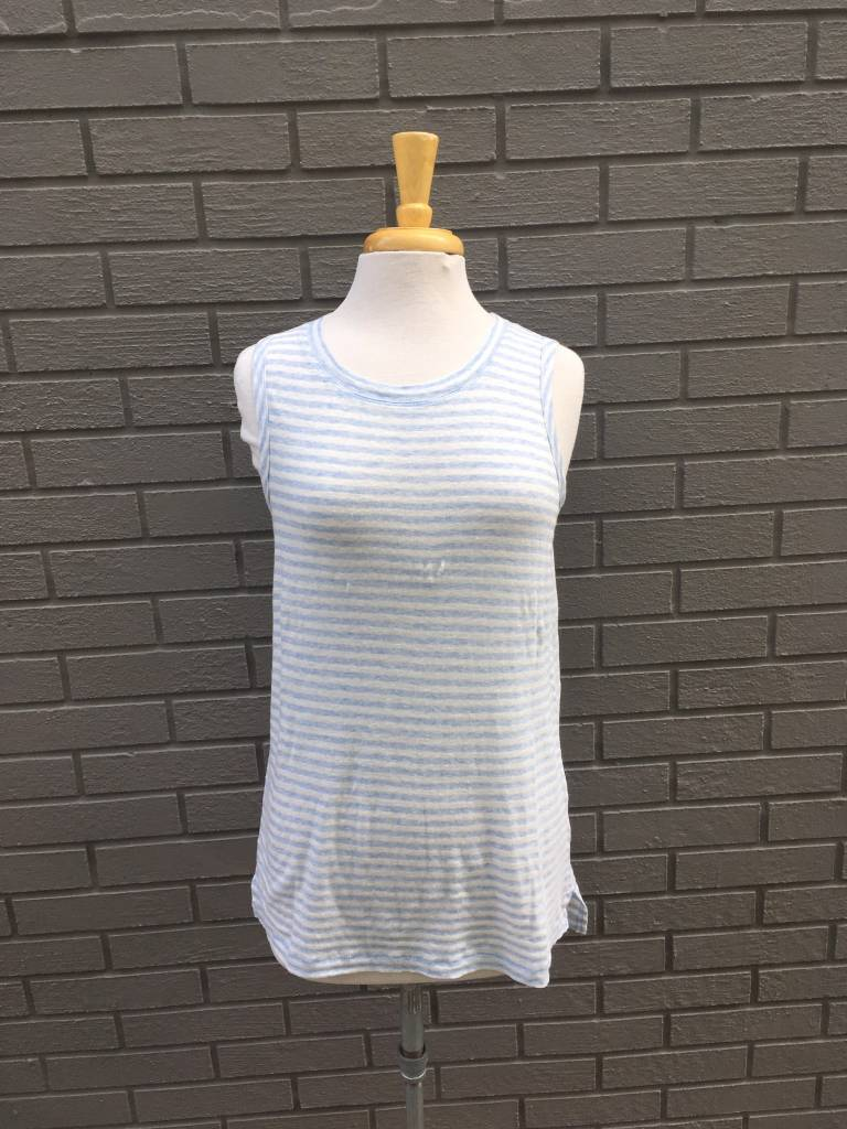 Dylan White and Sky Blue Linen Cotton Stripe Sleeveless Tee