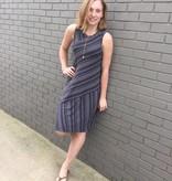 Mod-O-Doc Asymmetrical Fossil Grey Stripe Knit Dress