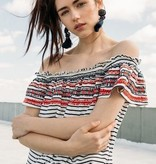 THML Off Shoulder Stripe Knit Top Red White Blue