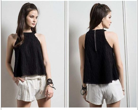 Moon River Black Woven Lace Sleeveless Top
