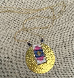 Nakamol WNXB43 Gold Circle Pendant w Pink Blue Beads