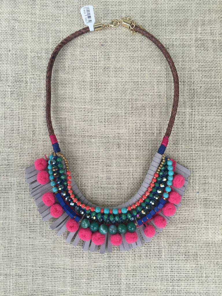 Nakamol CNXF102 Pink Pom Pom Grey Leather Fringe Bib Necklace