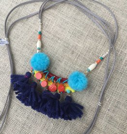 Nakamol CNXD165 Grey Leather Wrap Necklace w Pom Pom Bib