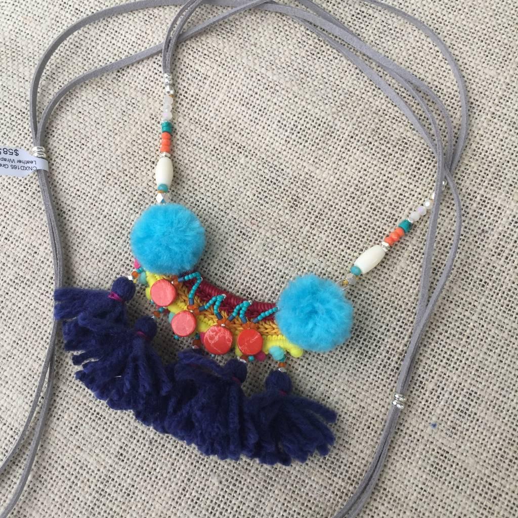 Nakamol CNXD165 Grey Leather Wrap Necklace w Pom Pom Bib