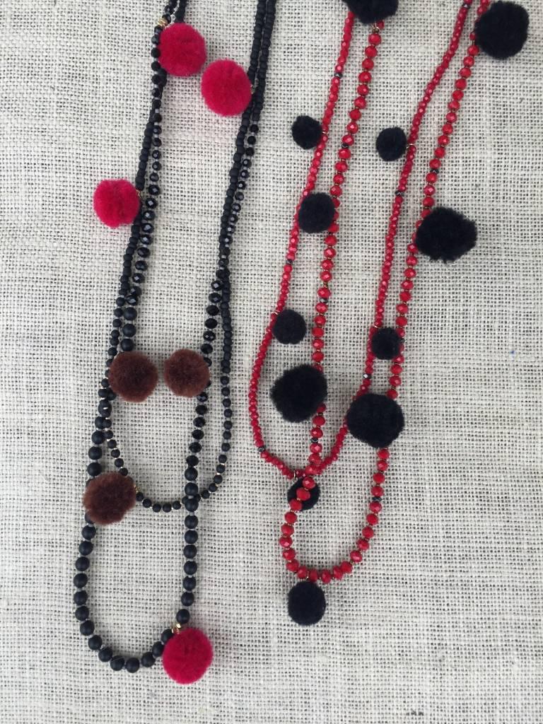 Nakamol CNXD191 Red Beaded Necklace w Black Pom Poms