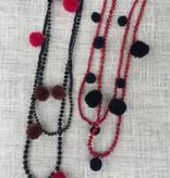 Nakamol CNXA137 Black Beaded Necklace w Maroon Pom Poms