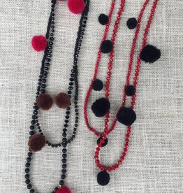 Nakamol CNXA137 Black Beaded Necklace w Maroon Pom Poms