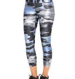 Terez Wide Waistband Blue Heathered Camo Capri Leggings
