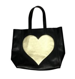 Ah Dorned Black Vegan Tote with Gold Heart