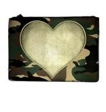Ah Dorned Camo Zipper Clutch with Gold Heart