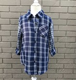 For All Seasons Long Sleeve Blue Plaid Top w Pocket
