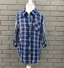 For All Seasons Long Sleeve Blue Plaid Top w Pocket