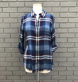 Dylan Fringed Rayon Blue Plaid Shirt