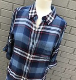 Dylan Fringed Rayon Blue Plaid Shirt
