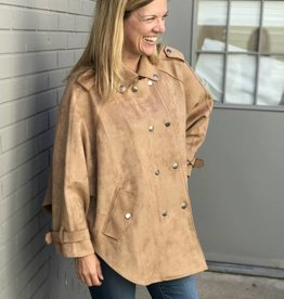Faux Suede Cape Jacket in Camel