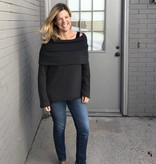 Off Shoulder Charcoal Sweatshirt Top