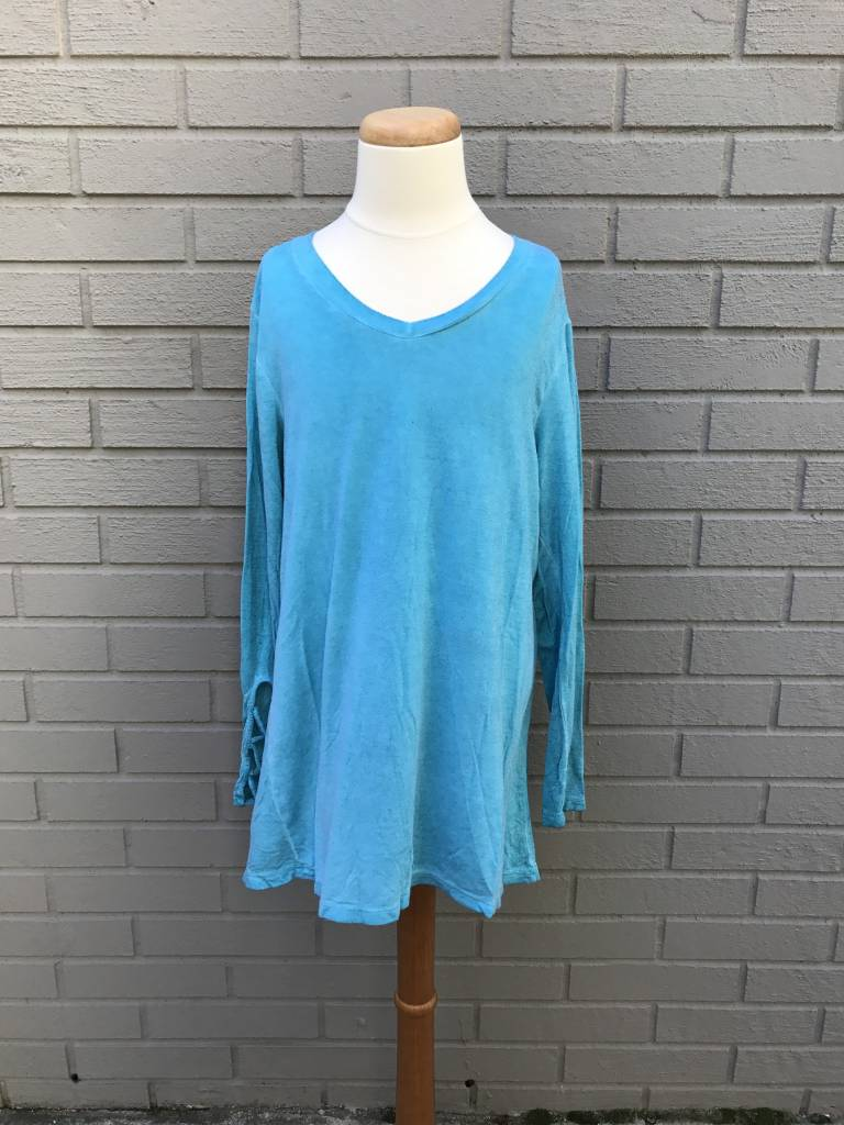 Erge Oil Washed Laceup Sleeve Top Jade #4057OIF